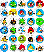 30 x Angry Birds partie collection Riz Gaufrette Comestibles Papier Cupcake Toppers