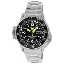 Seiko 5 Black Dial Stainless Steel Compass Automatic Mens Watch SKZ211J1