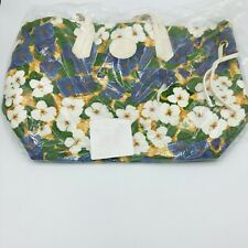 Dooney & Bourke White and Blue Floral Print Leisure Travel Shopper Tote Bag