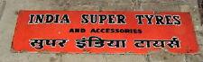 INDIA SUPER TYRES GARAGE VINTAGE PORCELAIN ENAMEL SIGN RARE OLD CIRCA 1930'S