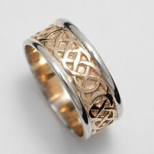 14k Gold Irish Handcrafted Celtic Wedding Band Ring 9mm wide