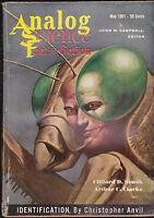 Analog Magazine Arthur C Clarke Christopher Anvil Clifford D Simak May 1961