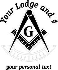 WHITE Vinyl Decal Masonic Emblem Past Master Lodge name number personalized