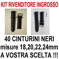 KIT RIVENDITORE INGROSSO LOTTO 40 CINTURINI PELLE NERO 18mm 20mm 22mm 24mm STOCK