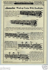 1933 PAPER AD 2 Sided American Flyer Wind Up Toy Train Sets Warrior Steel King