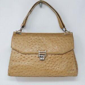 Vintage 60s Ostrich Print Leather Purse Handbag Tan Beige Leather Lined Goldtone