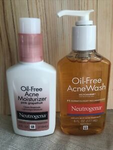 NEUTROGENA OIL-FREE ACNE WASH Lot Of 2 With Pink Grapefruit Moisturizer