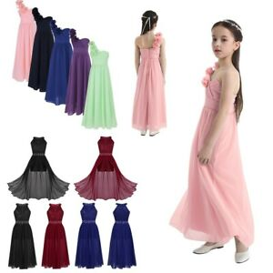 Flower Girl Princess Maxi Dress Bridesmaid Wedding Party One-shoulder Prom Gown
