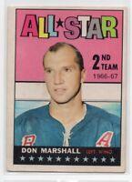 1X DON MARSHALL 1967 68 Topps #130 EX+ NEW YORK RANGERS 67-68 ALL STAR