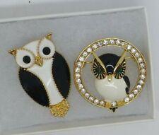 Owl brooch pair black white enamel crystal rhinestone vintage style in gift box