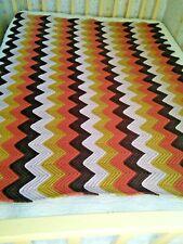 Vintage Chevron Ripple Zig Zag Crochet Afghan Throw Blanket 64x50 Knit Afgan