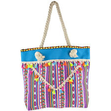 Tote with Tassels Beach Bag Lux Accessories Women's Colorful Tribal Print