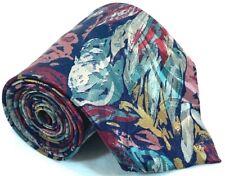 "Towncraft Mens Tie Necktie 100% Silk 3 1/4"" 58"" USA Abstract Blue Salmon Teal"