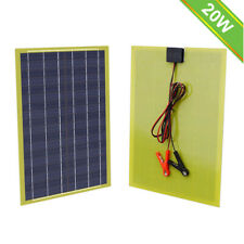 20Watt Epoxy Solar Panel & Battery Clips for 12V Emergency Charger Camp