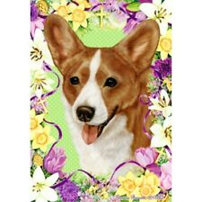 Easter House Flag - Red and White Cardigan Welsh Corgi 33243