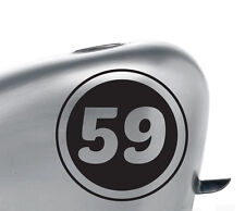 """(2x) 5"""" Motorcycle Team Racing Inverted Number Decal Stickers Vintage Cafe Racer"""