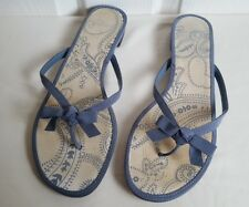 Clarks Flip Flop Summer Sandals. UK 8 Floral Canvas. Bow detail Beach Holiday
