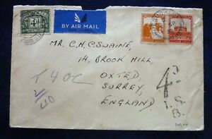 Palestine 1935 Air Mailed Taxed Cover to UK from  Jerusalem - Two Stamps 4+8