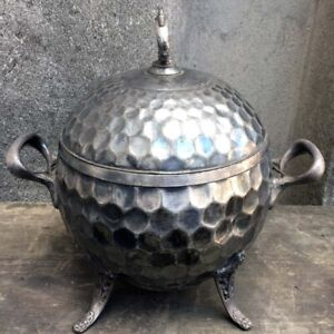 Antique Wilcox Silverplate Aesthetic Movement Hammered Globe Tureen Lidded Bowl