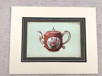 1910 Print Antique Chelsea Porcelain Teapot Watteau Chinese Chromolithograph