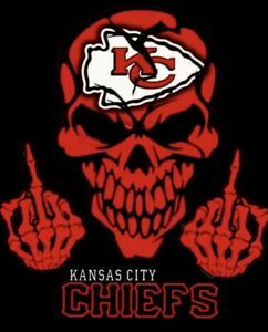 2 Kansas City Chiefs Skull Fingers Waterproof Vinyl Stickers 5x3.7  Car Decals