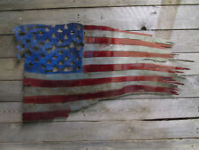 STAINED AND CLEAR COATED TATTERED AMERICAN  BATTLE FLAG METAL SIGN 24""
