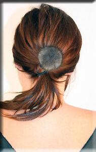 New Blue Iris Mink Fur Ball with Scrunchy Scrunchie Scrunchies - Efurs4less