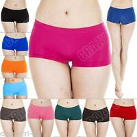Womens Boxer Shorts Brief Knickers Ladies Plain New Underwear Lingerie S M L XL