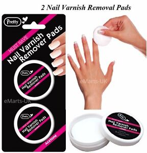 40 x Pretty Nail Varnish Remover Pads Twin Pack of 20 Acetone Pads Best Quality