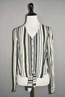 LULUS NEW $45 Striped Long Sleeve V Neck Button Down Blouse Tie Bottom XS