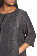 NWT Eileen Fisher Black Organic Cotton Kurume Dash Round Neck Jacket Sz 1X  $358