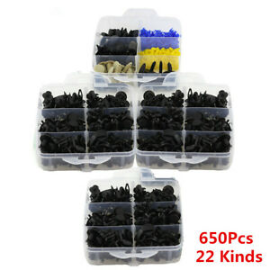 650Pcs 22 Sizes Car Door Bumper Panel Fender Retainer Push Rivet Fastener Clips