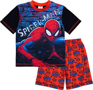 Marvel Spiderman Boys Pyjamas, Short Summer Pyjamas Pjs, Official Merchandise