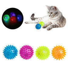 Dog Puppy Cat Pet Led Whistle Squeaker Rubber Chew Bell Ball Playing Toy 6.5CM