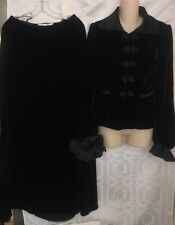Oscar De La Renta Dress Black Velvet Long Skirt And Top Taffeta Cuff Size 8