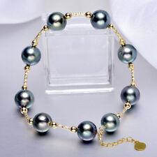 "7.5-8"" Gorgeous AAA+ 8-9mm real natural Tahitian black round pearl bracelet 18k"