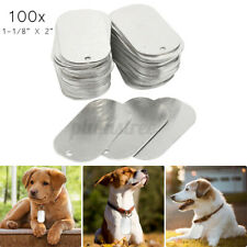"""100Pcs 2"""" Aluminum Gloss Engraved Tough Solid Dog Pet ID Tag Blanks Thick 5mm"""