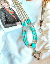 CAROLYN POLLACK VINTAGE STERLING SILVER DOLPHIN AND TURQUOISE 3 STRAND PNDT