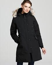 Canada Goose Black Kensington Down Parka Coat Genuine Coyote Fur Trim Size XS .