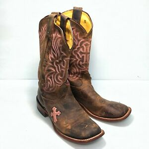 Tony Lama Brown Pink Leather Square Toe Pull On Mid Womens Cowboy Boots Sz 9.5B
