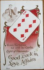 Playing Card 1907 Postcard: Good Fortunes Told by Cards - Eight of Diamonds