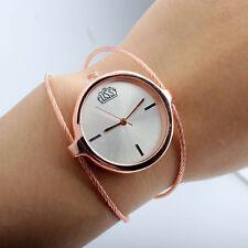 Pop Women's Steel Wire Round Dial Hour Analog Quartz Bracelet Bangle Wrist Watch