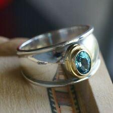 *Retired* James Avery CHRISTINA BLUE TOPAZ RING 18k Gold Sterling Silver Size 11