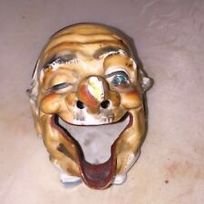 Old Man Bug On Nose Bisque Japan Figural Novelty Ashtray Open Mouth