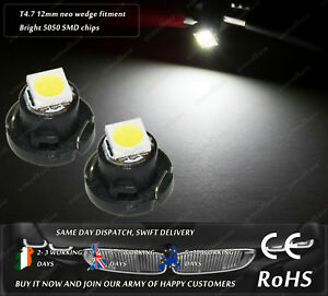 LED SMD T4.7 12mm Neo Wedge White Dash Cluster Speedo Panel Interior Bulbs Light