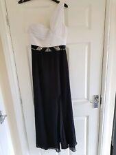 River Island white and black one shoulder/sleeve embellished dress, 12, new