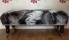 Footstool Stool In Laura Ashley Plume Charcoal Fabric