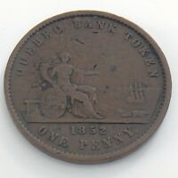 1852 One Penny Province Canada Deux Sou Copper Quebec Bank Token H967