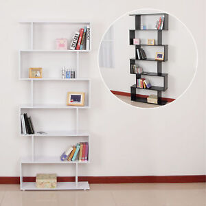 Storage Bookcase 6 Shelves Wood Bookshelf S Shape Display Unit Home Furniture