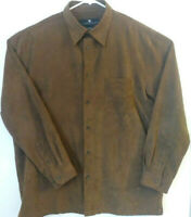 Consensus Sportswear Mens Size Large 100% Polyester Brown Long Sleeve Shirt